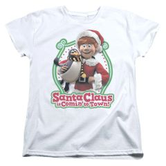 Christmas Santa Claus is Coming to Town Penguin Womens T-shirt