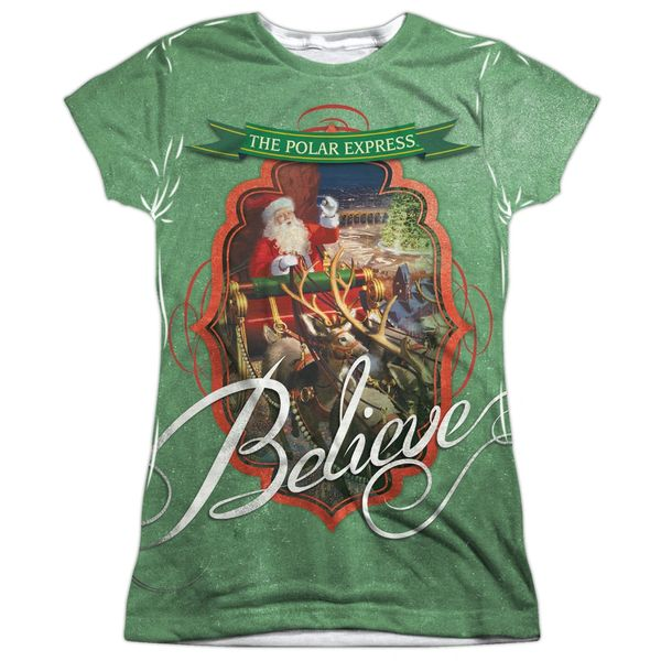 Christmas Polar Express Santa FB Print Junior T-shirt