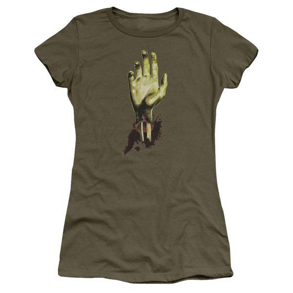 Zombie Need A Hand Military Green Short Sleeve Junior T-shirt