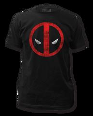 Deadpool Distressed Logo Black Cotton Short Sleeve Adult T-shirt