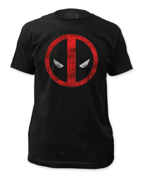 Deadpool Distressed Logo Black Cotton Short Sleeve Adult T-shirt