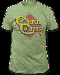 Cheech and Chong Caricature Logo Heather Green Cotton Short Sleeve Adult T-shirt