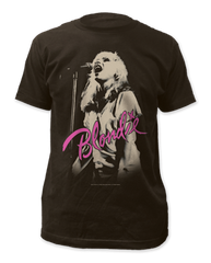 Blondie Mic Black Short Sleeve Adult T-shirt