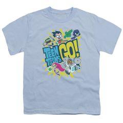 Teen Titans Go Go Light Blue Short Sleeve Youth T-shirt