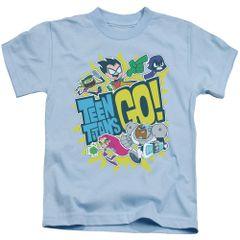 Teen Titans Go Go Light Blue Short Sleeve Juvenile T-shirt