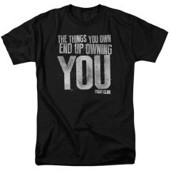 Fight Club Owning You Black 100% Cotton Short Sleeve Adult T-shirt