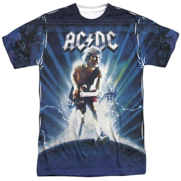 AC/DC Lightning Front and Back Print Short Sleeve Adult T-shirt