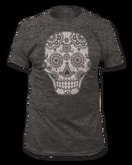 Sugar Skull Heather Charcoal Short Sleeve Adult T-shirt