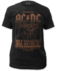 AC/DC Madison Square Garden Black Cotton Short Sleeve Adult T-shirt