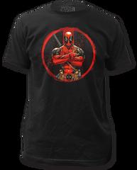 Deadpool Crossed Black Cotton Short Sleeve Adult T-shirt