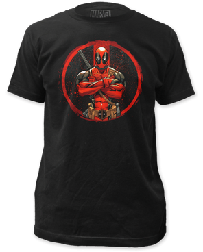 Deadpool Crossed Black Cotton Short Sleeve Adult T-shirt