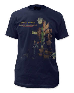 David Bowie Ziggy in the Street Sueded Navy Cotton Short Sleeve Adult T-shirt