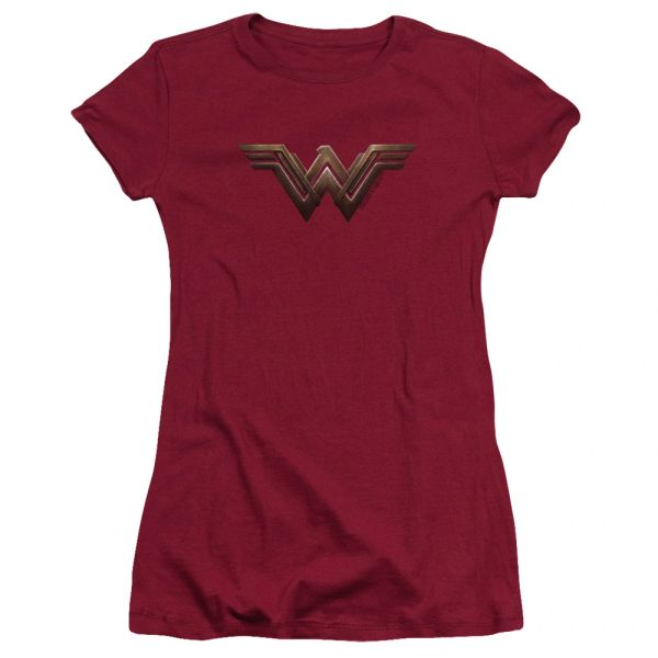Wonder Woman Logo Cardinal Cotton Short Sleeve Junior T-shirt