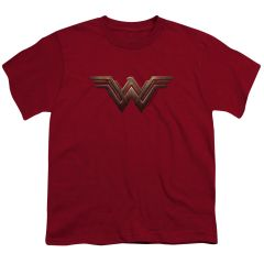 Wonder Woman Logo Cardinal Cotton Short Sleeve Youth T-shirt