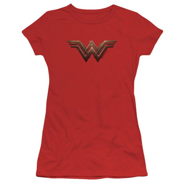 Wonder Woman Logo Red Cotton Short Sleeve Junior T-shirt