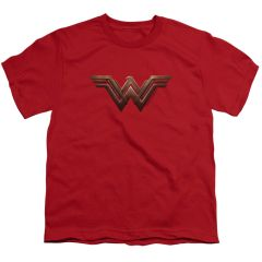 Wonder Woman Logo Red Cotton Short Sleeve Youth T-shirt
