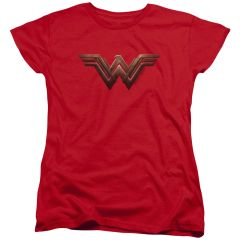 Wonder Woman Logo Red Cotton Short Sleeve Womens T-shirt