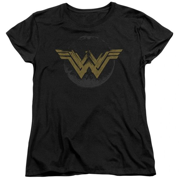 Wonder Woman Distressed Logo Black Short Sleeve Womens T-shirt