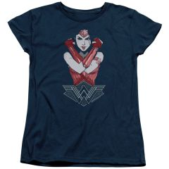 Wonder Woman Amazon Navy Cotton Short Sleeve Womens T-shirt