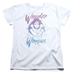 Wonder Woman Retro Stance White Cotton Short Sleeve Womens T-shirt