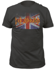 Def Leppard Union Jack Black Cotton Short Sleeve Adult T-shirt