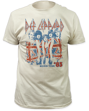 Def Leppard 83 World Tour White Cotton Short Sleeve Adult T-shirt