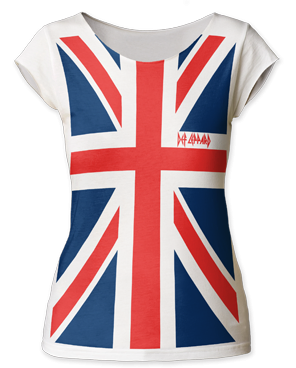 Def Leppard Full Print Union Jack White Cotton Sleeveless Womens T-shirt