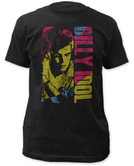Billy Idol Color Block Black Short Sleeve Adult T-shirt