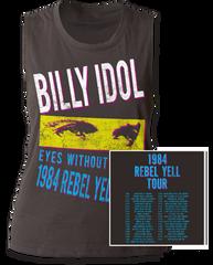 Billy Idol Rebel Yell 84' Tour Black Women's Muscle Tank Top T-shirt