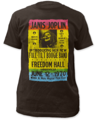 Janis Joplin Freedom Hall Poster Black Short Sleeve Adult T-shirt