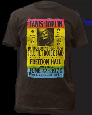 Janis Joplin Freedom Hall Poster Black Short Sleeve Adult T-shirt