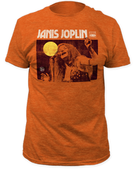 Janis Joplin Singing Heather Orange Short Sleeve Adult T-shirt