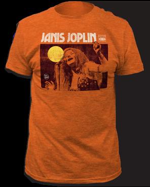 Janis Joplin Singing Heather Orange Short Sleeve Adult T-shirt