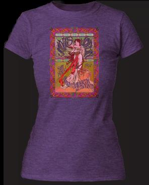 Janice Joplin Avalon Ballroom Heather Purple Short Sleeve Junior T-shirt