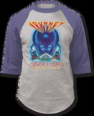 Journey Frontiers Grey Denim Blue Baseball Jersey T-shirt
