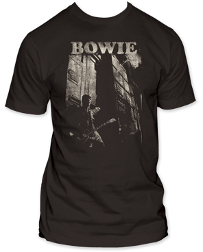David Bowie Guitar Black 100% Cotton Short Sleeve Adult T-shirt