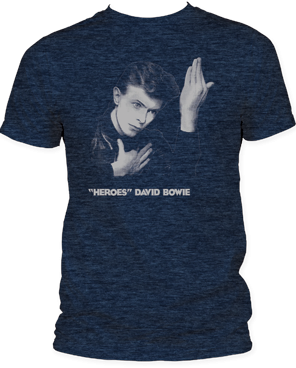 David Bowie Heros Heather Navy Short Sleeve Adult T-shirt