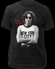 John Lennon NYC B and W Black Short Sleeve Adult T-shirt