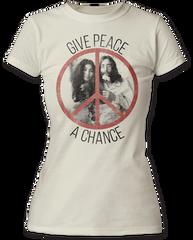 John Lennon Give Peace a Chance White Short Sleeve Junior T-shirt