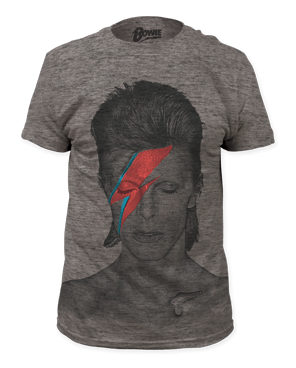 David Bowie Aladdin Sane Heather Grey Big Print Short Sleeve Adult T-shirt