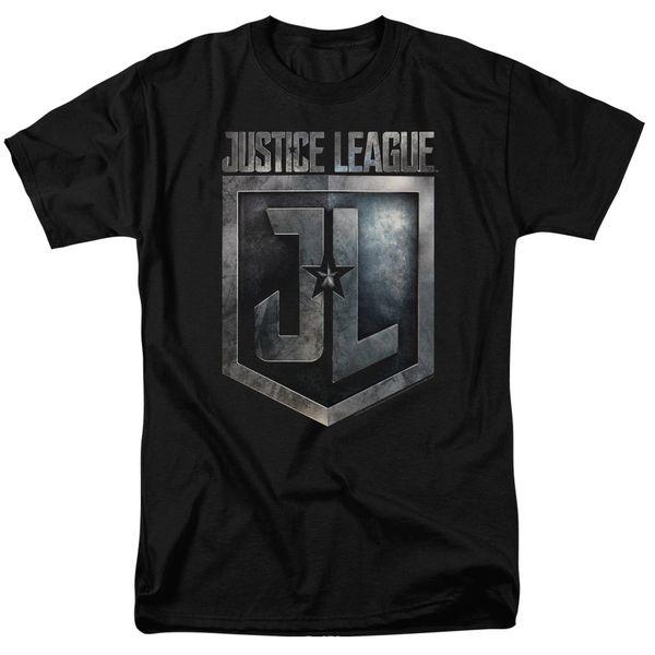 Justice League Shield Logo Black Short Sleeve Adult T-shirt