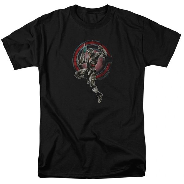 Justice League Cyborg Black Short Sleeve Adult T-shirt