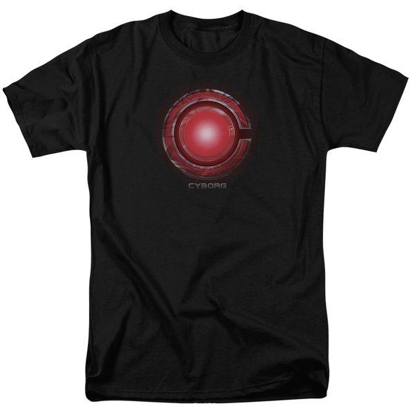 Justice League Cyborg Logo Black Short Sleeve Adult T-shirt