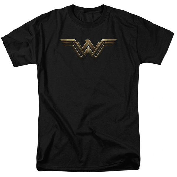Justice League Wonder Woman Logo Black Short Sleeve Adult T-shirt