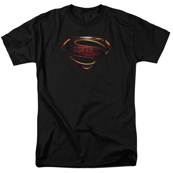 Justice League Superman Logo Black Short Sleeve Adult T-shirt