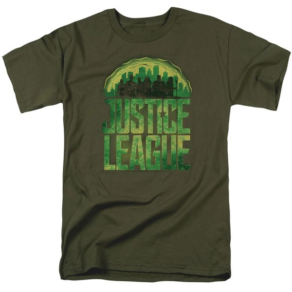 Justice League Kryptonite Military Green Short Sleeve Adult T-shirt
