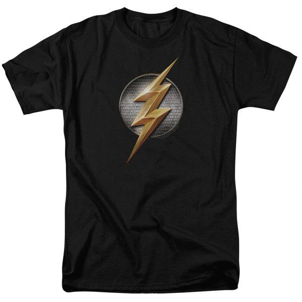 Justice League Flash Logo Black Short Sleeve Adult T-shirt