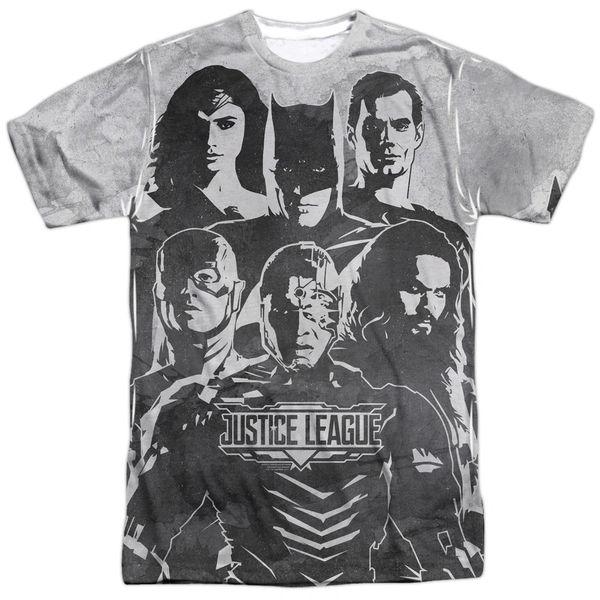 Justice League The League White Short Sleeve Adult T-shirt