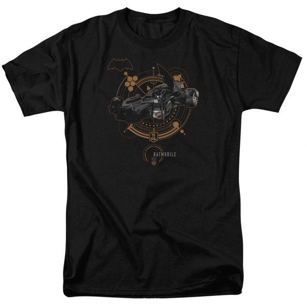 Justice League Batmobile Black Short Sleeve Adult T-shirt