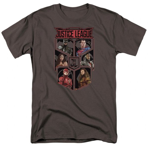 Justice League League of Six Charcoal Short Sleeve Adult T-shirt